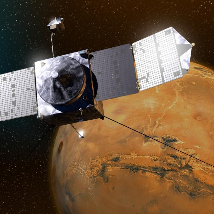 This artist's sketch shows MAVEN above Mars / Credits: Lockheed Martin
